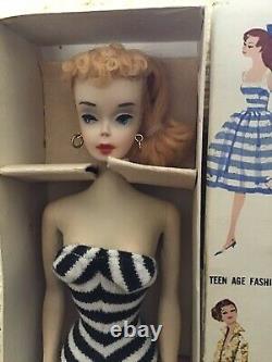 Rare! Tous Les Originaux Mattel Blonde Ponytail Barbie #3 Box, Liner, Stand, Livret