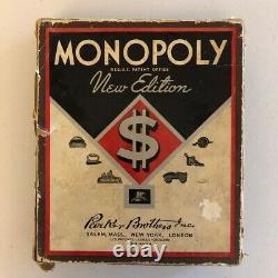 Rare Vintage 1936 Monopoly Nouvelle Edition Brown Box Jeu Partiel