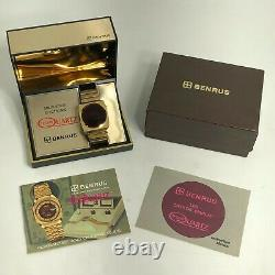 Rare Vintage 1974 Benrus Montre Led Rouge Pour Homme Avec Boîte Et Papiers