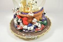 Rare Vintage 1989 Disney 101 Dalmatiens Snow Globe Music Box Pups Dogs
