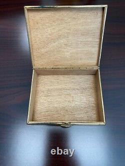 Rare Vintage Années 1970 Gucci Emerald Green & Gold Cigarette Box Withwood Interior