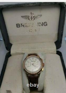 Rare Vintage Breitling Chronograph Landeron 48 Manuel Winding Men Watch With Box