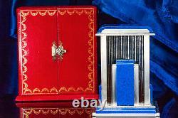 Rare Vintage Cartier Mystère Prisme Lapis Horloge Avec Coin Bord Case & Box Originale