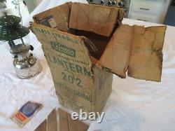 Rare Vintage Coleman Modèle 202 Lanterne À Manteau Unique 1/55 Avec Boîte Lire En Bas