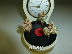 Rare Vintage Dancer Musical Réveil Avec Reuge Danse Ballerina Music Box