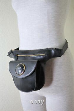 Rare Vintage Gianni Versace Cuir Noir Medusa Face Ceinture De Sac De Taille