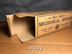 Rare Vintage Marx Sky Bird Mechanical Zeppelin Avec Original Box Works