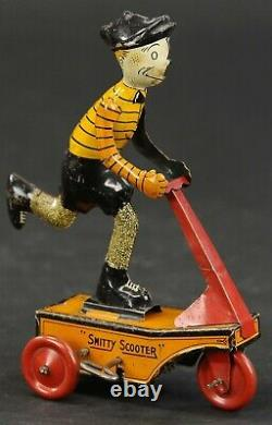 Rare Vintage Marx Tin Smitty Scooter Wind Up Toy Avec La Boîte (années 1920)