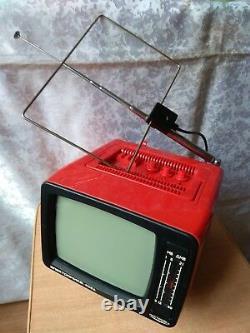 Rare Vintage Old Soviet Ussr Portable Television Tv Elektronika 409d Avec Box
