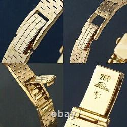 Rare Vintage Omega Solide En Or 18 Carats Lady Flip Top Bracelet Montre Avec Boîte Originale