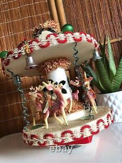 Rare Vintage Pink Reindeer Carrousel MCM Mid-century Christmas Decor Music Box