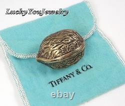Rare Vintage Tiffany & Co Sterling Silver Vermeil Walnut Trinket Pill Box Italie