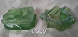 Rare Vtg Consolidated Glass Ruba Rombic Opalescent Jade Ashtray & Cigarette Box