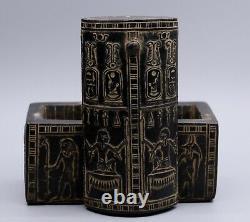Rares Antiques En Box Égyptien Egypt Scarab Hieroglyphique Pharaonique Sculpté Stone C.-b.