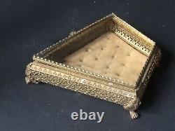 Rayons! Boite À Bijoux Ormolu Vintage Coffret Antique Diamond Animal Feet Verre
