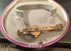 Rolex 18k Gold Orchid Avec Boîte Originale D'or Vintage Antique 18k Bracelet Rare