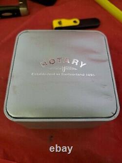 Rotary Elite Reverso Dual Dual Cadran Suisse Coffret Papiers Vtg Nouveau! Rare! (jl)