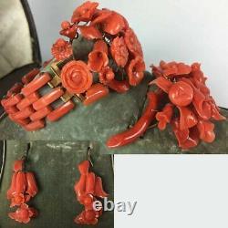 V Rare! Parure De Corail Rouge Victorienne Antique, En Boîte, Or 18 Carats, Bracelet, Broch +