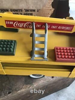 Vieux Camion De Coke Buddy L Dans La Boîte D'origine Jaune Coke Rare Cola Avec Des Caisses De Soda