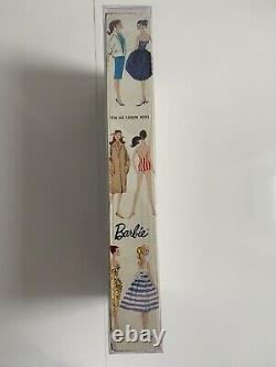 Vintage Brunette Ponytail Barbie #4 1960 Nrfb Rare État Fantastique