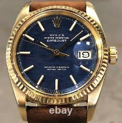 Vintage Datejust 36mm 1601 Rolex Or Jaune 18 Carats Rare Bleu Brique Cadran Withbox