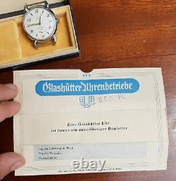 Vintage Gub Glashütte Ddr Montre Allemande Dans La Boîte Avec Papier 1956 Rda Rare