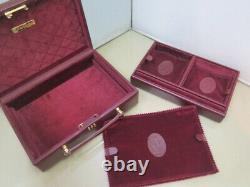 Vintage Rare Cartier Bijoux Boîte De Voyage En Cuir Et Bourgogne Suédois Des Années 80