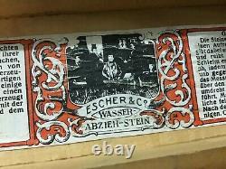 Vintage Rare Escher & Co. Pierre D'eau Naturelle Dans Une Boîte À Bois Naturelle Originale