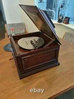 Vintage Rare Thorens Grande Boîte À Musique Disque De 11 Pouces Avec Finition Cerise