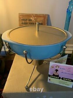 Vintage Rare Turquoise 2qt Pyrex Ufo Casserole Warmer Box Atomic Sputnik MCM