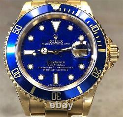Vintage Rolex Sous-mariner 16618 18k Yg Rare Lapis Lazuli Dial Avec Box & Rsc Card