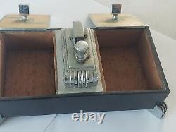 Vintage Ronson Touch Tip Art Déco Briquet Chrome Metal Double Cigarette Box Rare
