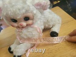 Vintage Rushton Rubber Face Lamb Avec Thorens Music Box Qui Fonctionne Très Rare