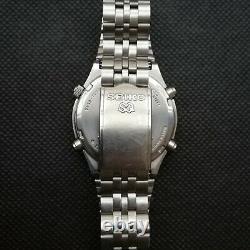 Vintage Steel Seiko 7a38-7270 Stepper Motor Chronographe Japon Rare Des Années 1980