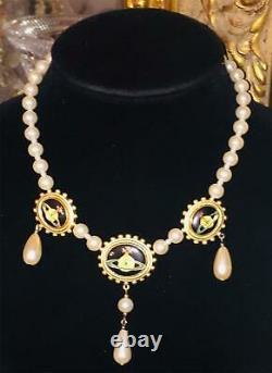 Vtg 1994 Vivienne Westwood Pearl Triple Orbe Logo Collier Or Boîte Rare