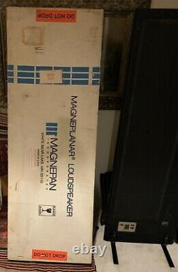 Vtg Magneplanar Magnepan Speaker Model Mg 3.5 Avec Crossovers & Box, Rare Black