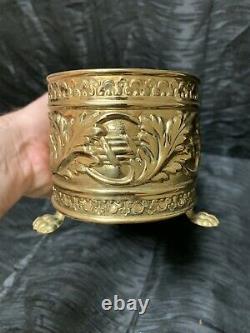 Vtg Rare 14 Laiton Planter Pot Fenêtre Plant Box Claw Footed Hollywood Regency