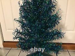 Vtg Revlis Strarlite #c-41 Bleu Vert 3 1/2 Pied En Aluminium Xmas Tree Box Rare